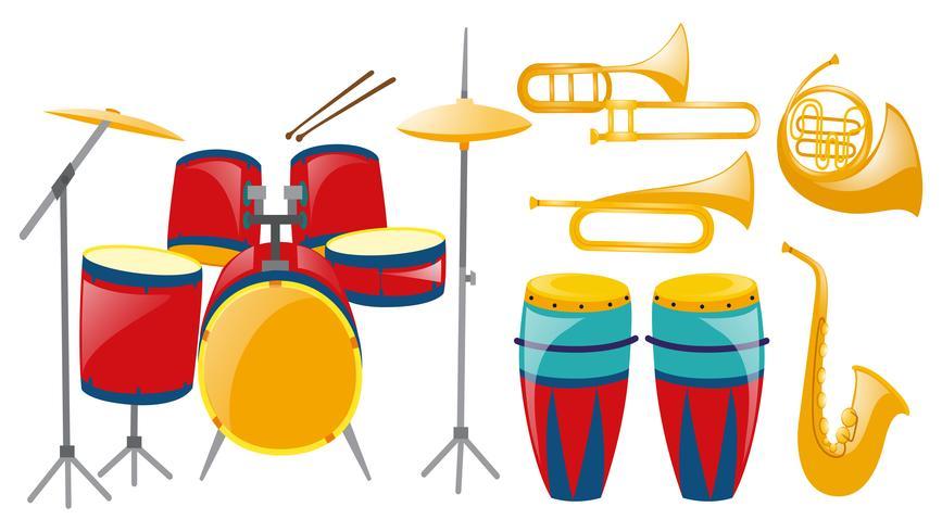 Diversi tipi di strumenti musicali vettore