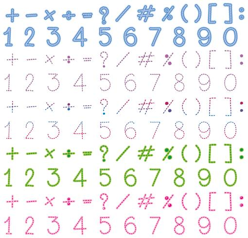 Numeri e segni in molti colori vettore