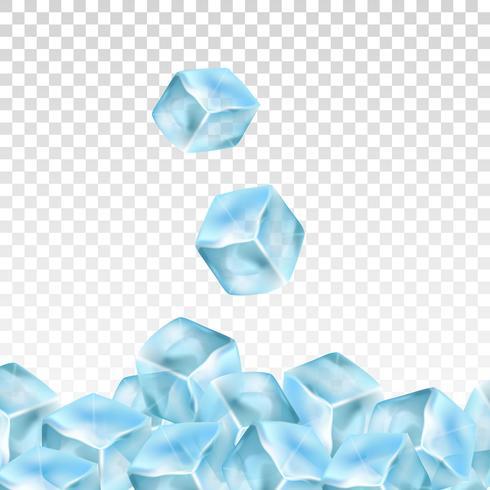 Cubetti di ghiaccio realistico su uno sfondo trasparente. Illustrazione vettoriale