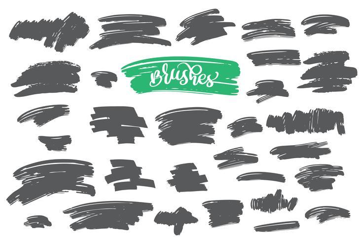 Set di vernice nera, pennellate di inchiostro, pennelli, linee vettore