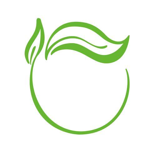 Logo della foglia verde di tè. Icona di ecologia elemento natura vettoriale. Illustrazione disegnata a mano di bio calligrafia di eco vegano vettore