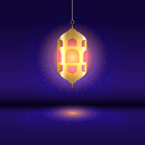 Sfondo di Ramadan con lanterna appesa su disegno mandala vettore