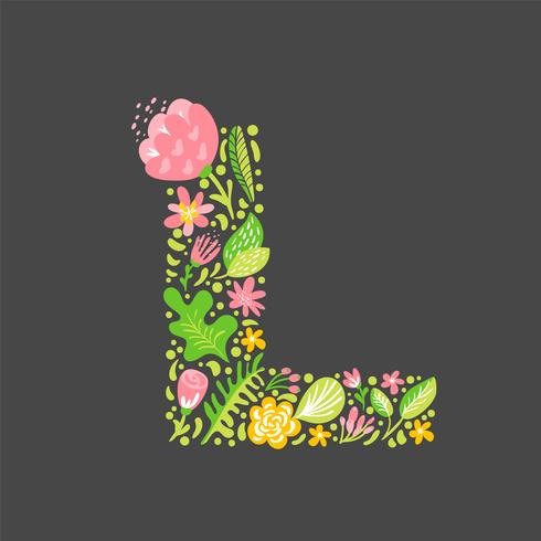 Estate floreale Lettera L vettore