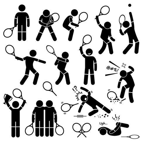 Le azioni del giocatore di tennis posano le icone del pittogramma di figura delle posizioni delle poste. vettore