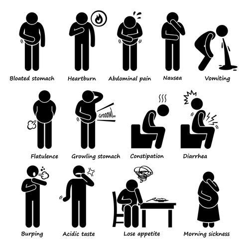 Sintomi di indigestione Problema Stick Figure pittogrammi icone. vettore