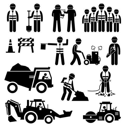 Icone del pittogramma di figura stilizzata del lavoratore della costruzione di strade. vettore