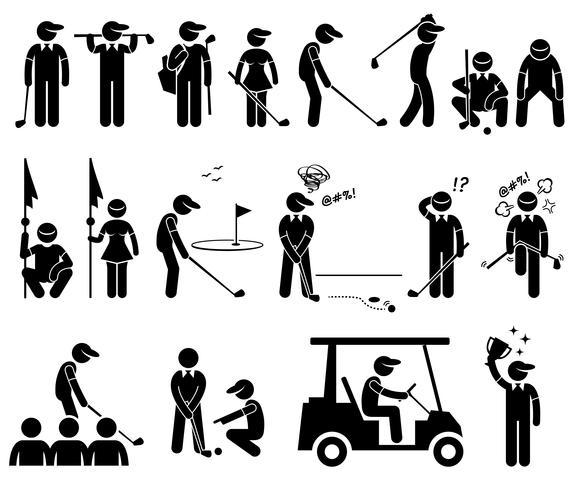 Le azioni del giocatore di golf pone le icone stilizzate del pittogramma della figura. vettore