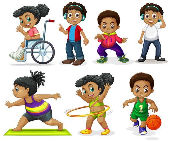 Set di personaggi africani vettore