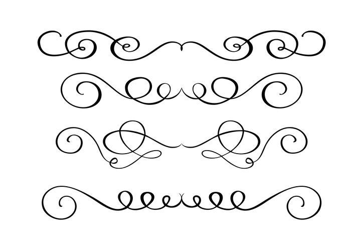 Impostare elementi di calligrafia fiorire disegnati a mano. Illustrazione vettoriale su uno sfondo bianco