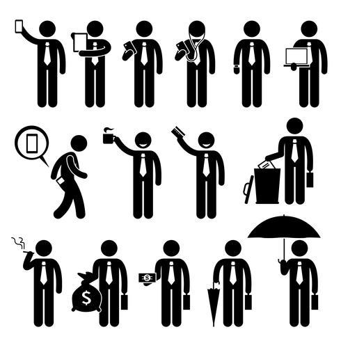 Figura dell'uomo d'affari che tiene vari oggetti figura stilizzata pittogramma icone. vettore