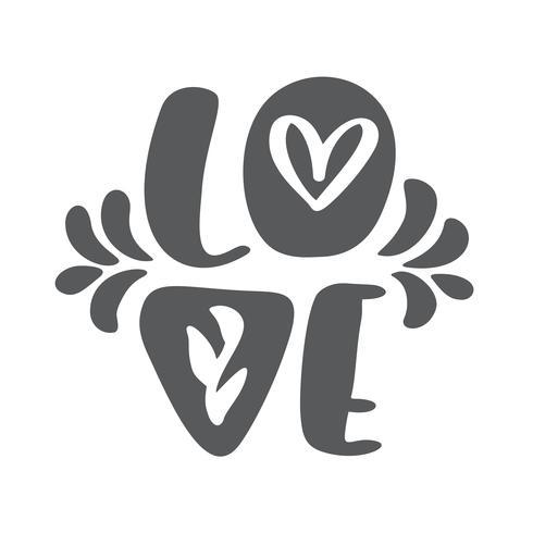 Ami il disegno della cartolina d'auguri con testo rosso alla moda per la celebrazione felice del giorno di biglietti di S. Valentino. Citazione di lettering scandinavo. Vector il testo vintage, lettering frase. Isolato su sfondo bianco