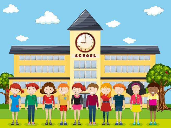 I bambini in piedi a scuola vettore