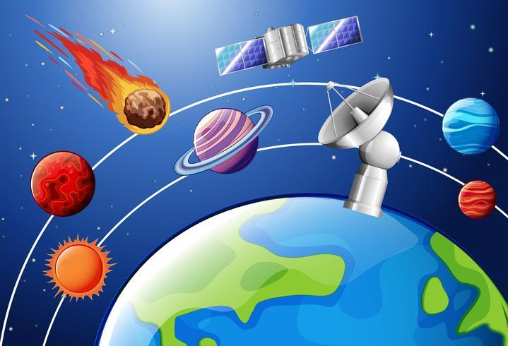 Poster design di astronomia con pianeti e satellite vettore