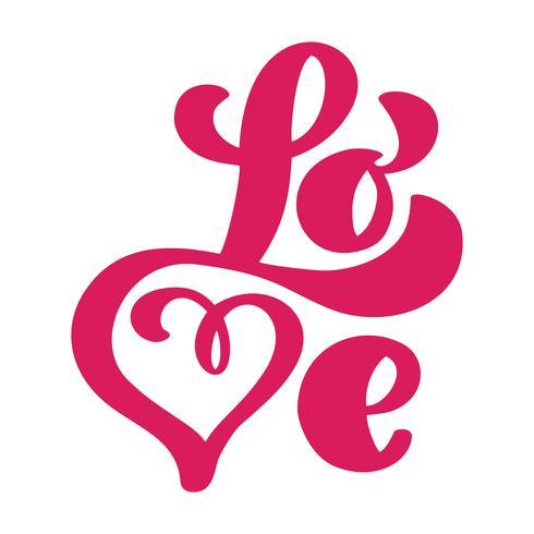 Ami il disegno della cartolina d'auguri con testo rosso alla moda per la celebrazione felice del giorno di biglietti di S. Valentino. Citazione lettering matrimonio Vector il testo vintage, lettering frase. Isolato su sfondo bianco