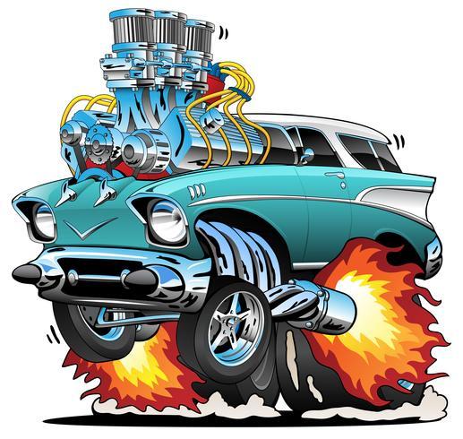 Illustrazione classica di vettore del fumetto dell'automobile del muscolo di Rod di anni 50 classici
