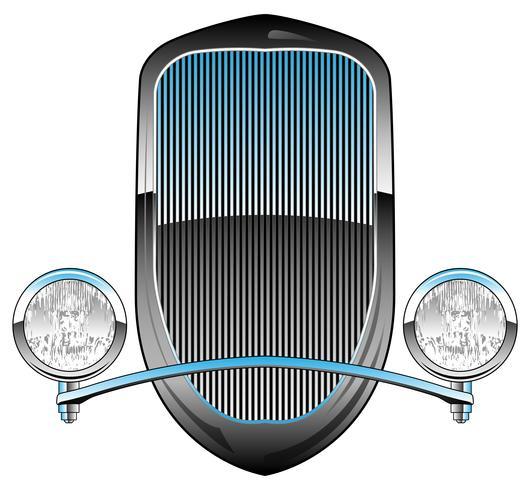Griglia per auto Hot Rod stile anni '30 con fari e cornice cromata vettore
