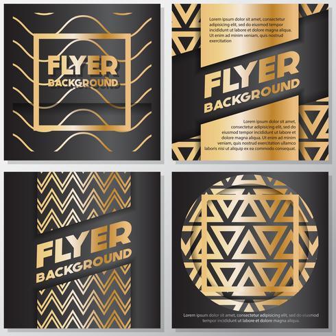 Modello di disegno di stile di flyer sfondo banner oro vettore