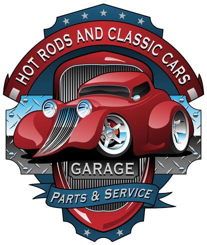 Illustrazione d'annata di vettore del segno del garage delle automobili classiche e di Hot Rods