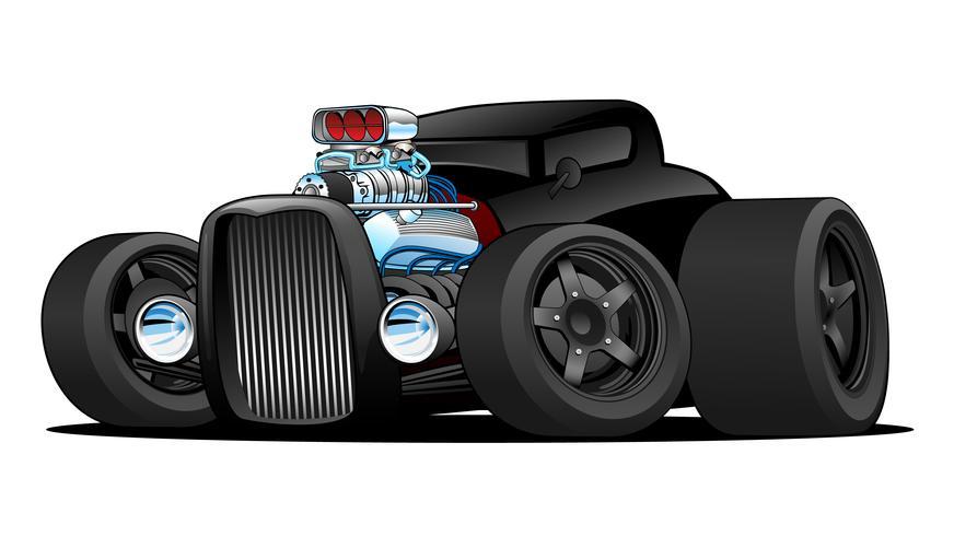 Illustrazione di vettore del fumetto dell'automobile su ordinazione dell'annata del coupé caldo di Rod