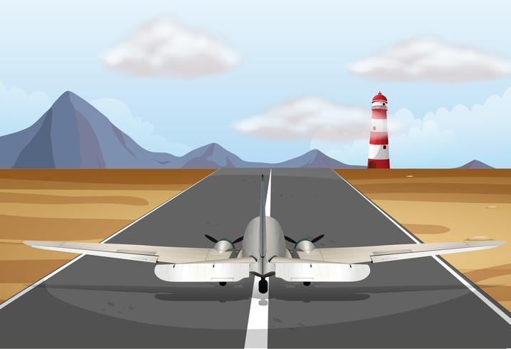 Aeroplano sulla pista in decollo vettore