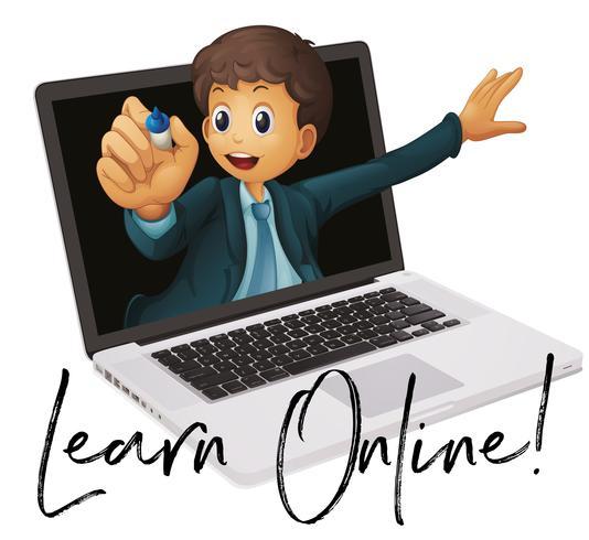 Frase di parole per imparare online con l'insegnante nel computer portatile vettore