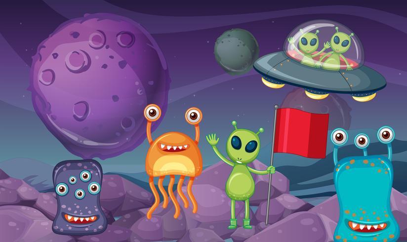 Tema spaziale con alieni sul pianeta vettore