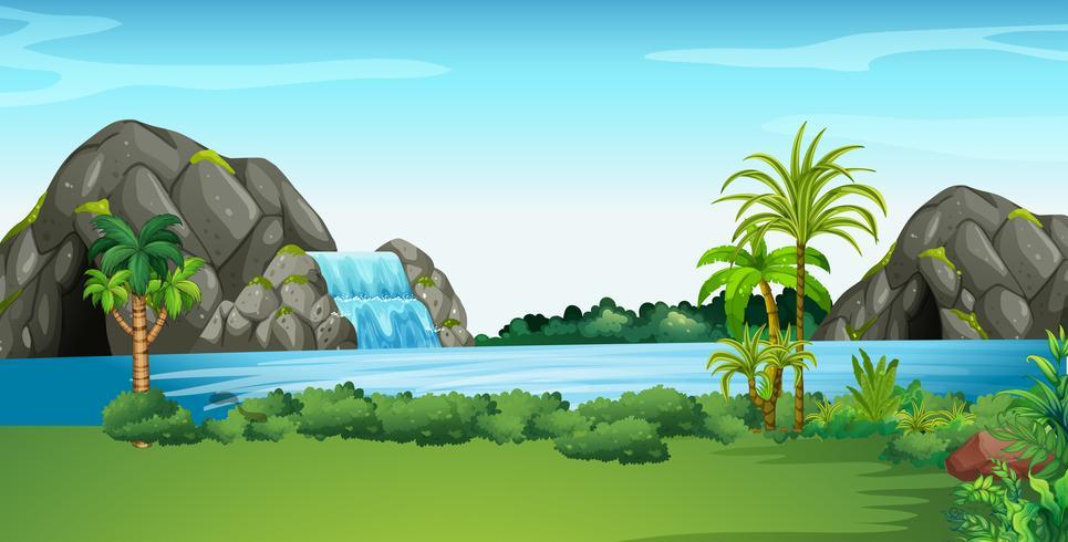 Scena con cascata e campo vettore