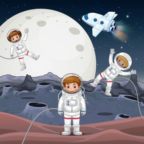 Tre astronauti che esplorano lo spazio vettore