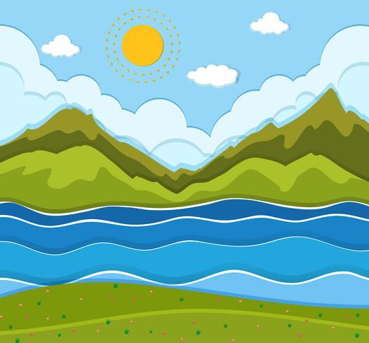Un bellissimo paesaggio fluviale vettore