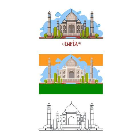 Palazzo indiano in diversi modi. Colore, senza contorno, solo linee. Illustrazione vettoriale