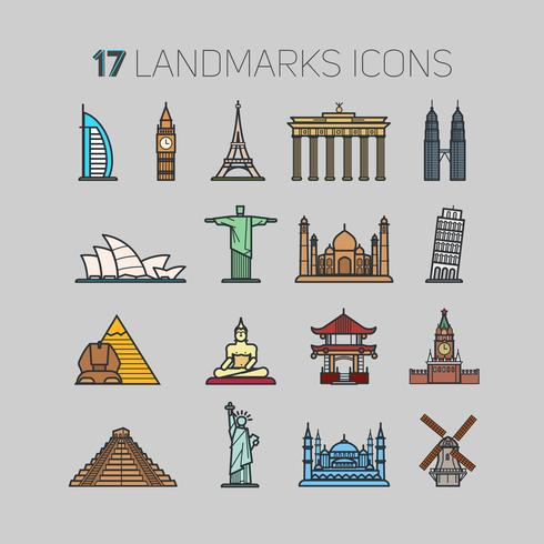 17 icone di monumenti di tutto il mondo, in una tecnica di contorno e un colore piatto per te. vettore