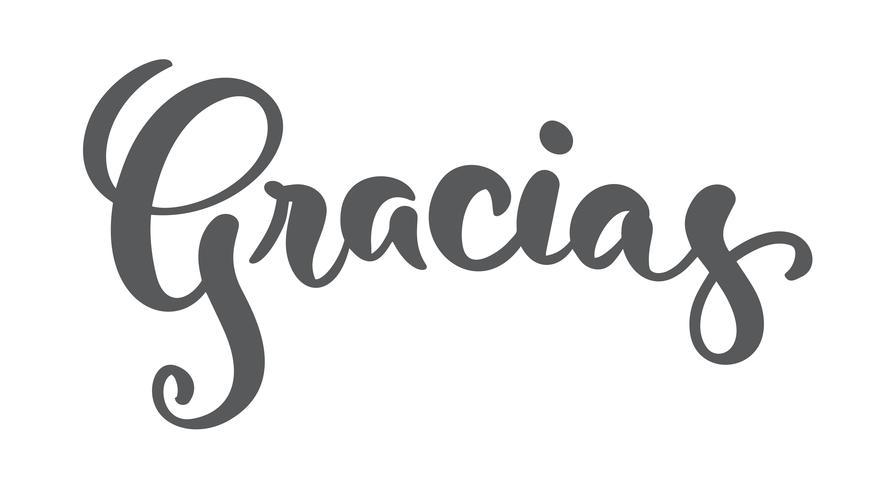 """""""Gracias"""" (""""Grazie"""" in spagnolo) moderna calligrafia a pennello vettore"""