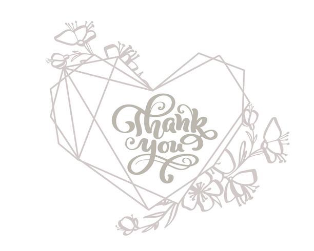 Grazie calligrafia grigio lettering testo vettoriale nella cornice del cuore. Per la pagina di elenco design modello di arte, stile opuscolo mockup, copertura idea banner, volantino stampa opuscolo, poster