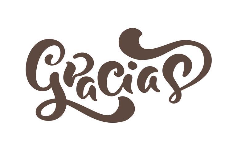 Gracias Vector testo in spagnolo Grazie. Lettering calligrafia vettoriale illustrazione. Elemento per la stampa di volantini, banner e poster. Calligrafico moderno