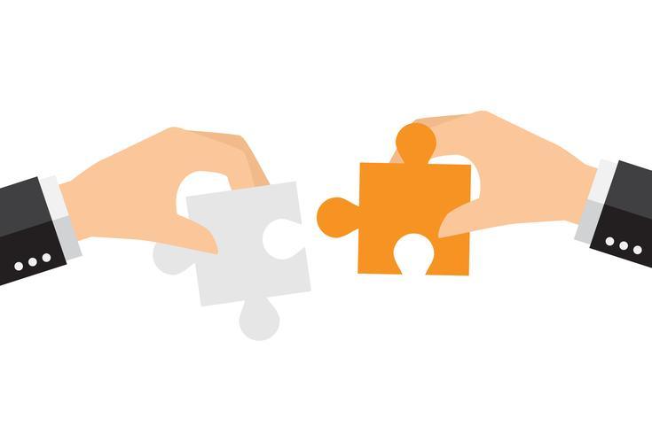 Gente di affari che risolve insieme il puzzle surdimensionato vettore