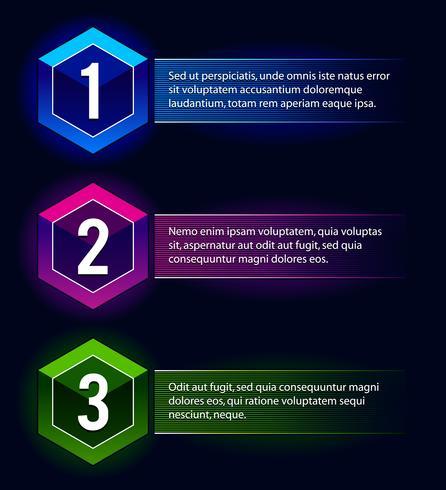 Banner di opzioni di numero al neon vettore