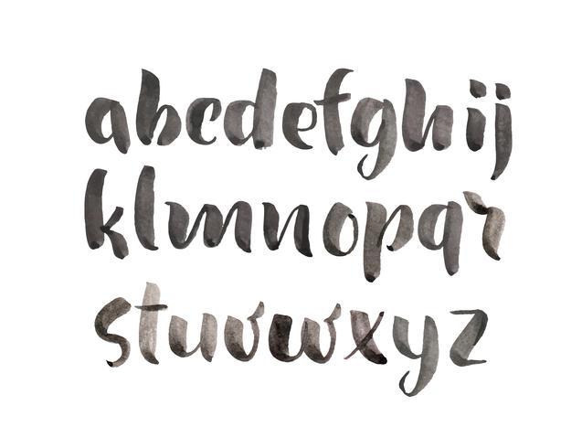 Fonte dell'acquerello di alfabeto disegnato a mano stile pennello vettore