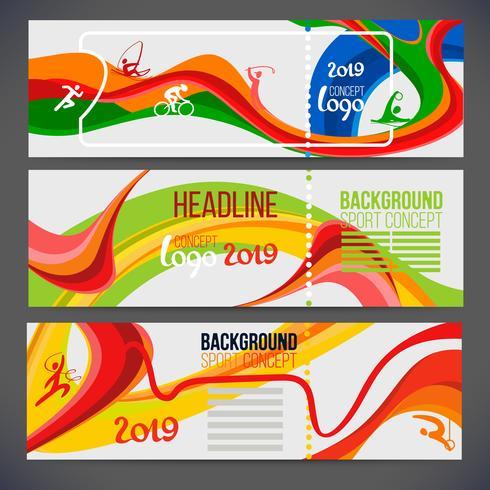 La composizione vettoriale di un'ondata di bande con colori diversi si intreccia tra cui simboli sportivi.