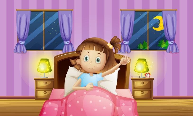 Ragazza che va a letto in camera da letto vettore