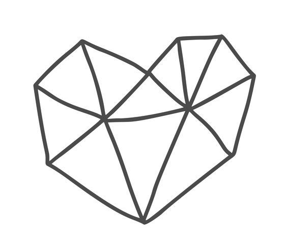 Cuore scandinavo geometrico disegnato a mano di giorno di Velentines. Vettore semplice contorno simbolo di San Valentino. Elemento di design isolato per web, matrimonio e stampa