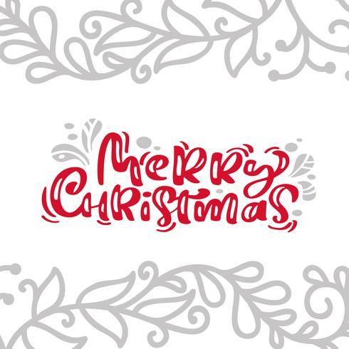Il testo di vettore dell'iscrizione di calligrafia della carta dell'annata di Buon Natale con l'inverno disegna la decorazione flourish del disegno. Per il design artistico, stile brochure mockup, copertina idea banner, volantino stampa opusco