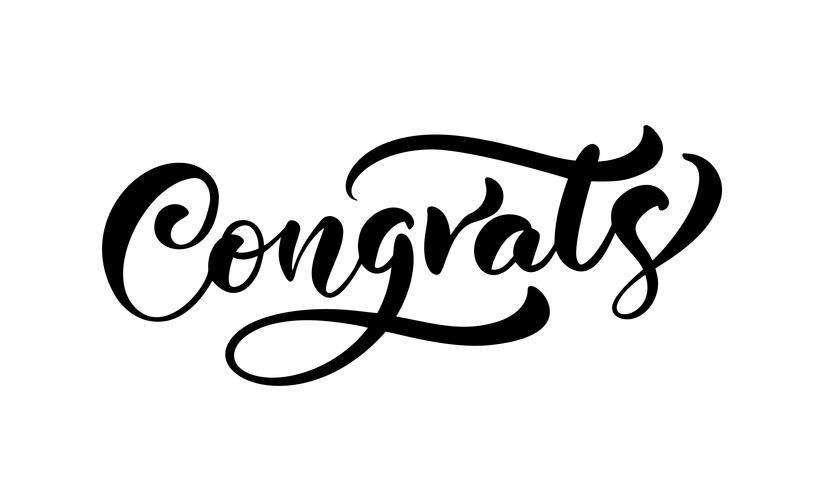 """Disegnato a mano calligrafia lettering testo """"Congrats"""" vettore"""