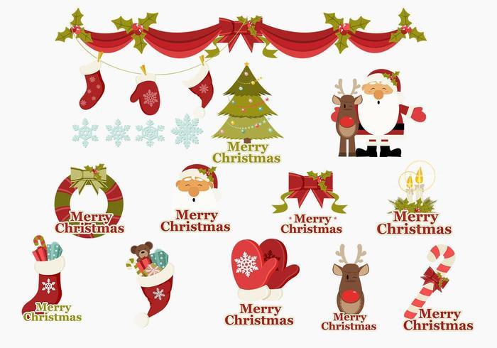 Buon Natale icone vettoriali Pack