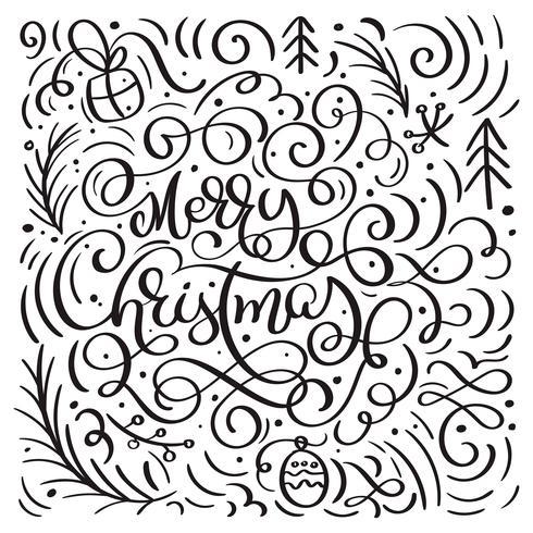 Buon Natale su uno sfondo bianco con elementi di Natale vettore fiorire di scarabocchi di calligrafia. Bello modello per una lussuosa carta da regalo, t-shirt, biglietti di auguri