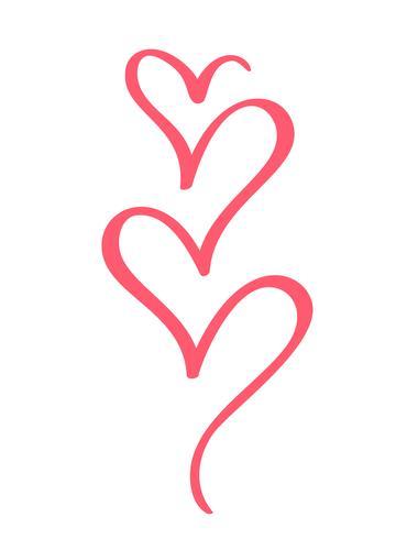 Elementi del cuore di disegno calligrafico disegnato a mano di San Valentino di vettore. Decorazioni in stile luce fiorente per web, matrimonio e stampa. Isolato su sfondo bianco Calligrafia e lettering illustrazione vettore