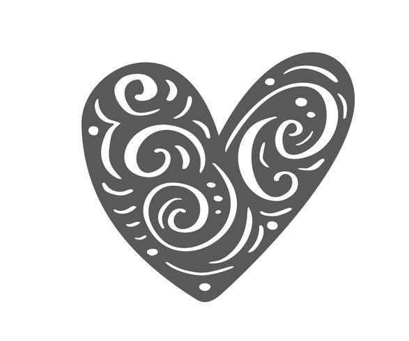 Il cuore scandinavo disegnato a mano di giorno di Velentines con l'ornamento fiorisce la siluetta dell'icona. Vettore semplice contorno simbolo di San Valentino. Elemento di design isolato per web, matrimonio e stampa