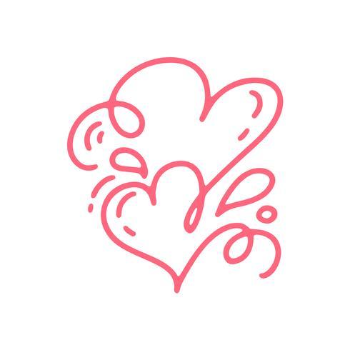 Due cuori calligrafici disegnati a mano di giorno di biglietti di S. Valentino rossi di vettore della coppia. San Valentino di elemento di design di vacanza. Icona love decor per web, matrimonio e stampa. Illustrazione di lettering calligrafia isolato