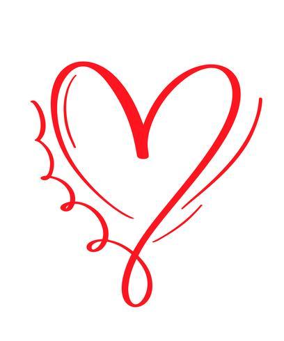 Cuore calligrafico disegnato a mano rosso giorno di San Valentino di vettore. San Valentino di elemento di design di vacanza. Icona love decor per web, matrimonio e stampa. Illustrazione di lettering calligrafia isolato vettore