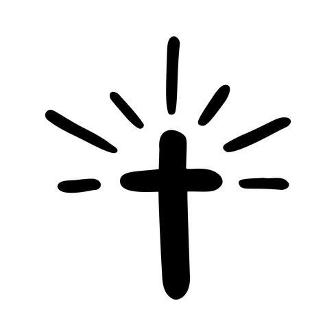 Illustrazione vettoriale di Christian Logo. Emblema con il concetto di croce con la vita della comunità religiosa. Elemento di design per poster, logo, badge, segno