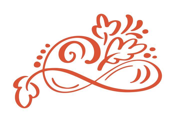 Elementi floreali disegnati a mano di disegno di autunno isolati su fondo bianco per retro progettazione. Vector calligrafia e lettering illustrazione